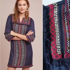 Anthro Akemi + Kin Alto Embroidered Tunic Dress 12